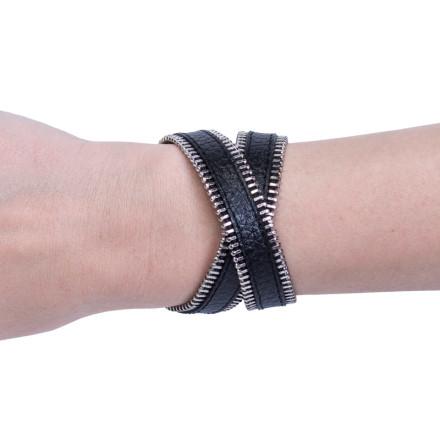 Кожаный браслет Zipper Black