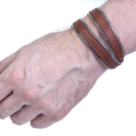 Кожаный браслет Zipper Brown