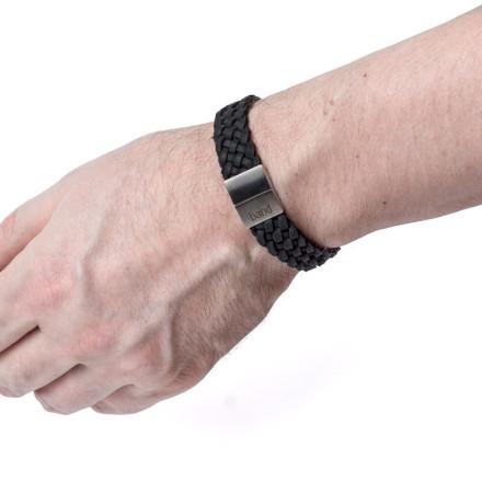 Кожаный браслет Marsel Black