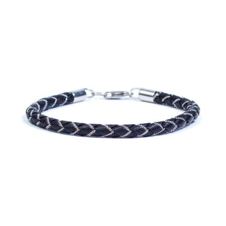 Срібний чорний Шкіряний і срібний браслет