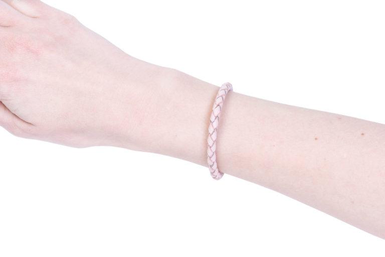 Браслет из кожи и серебра Silver Pink