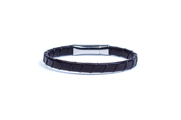 Кожаный браслет Slim Black