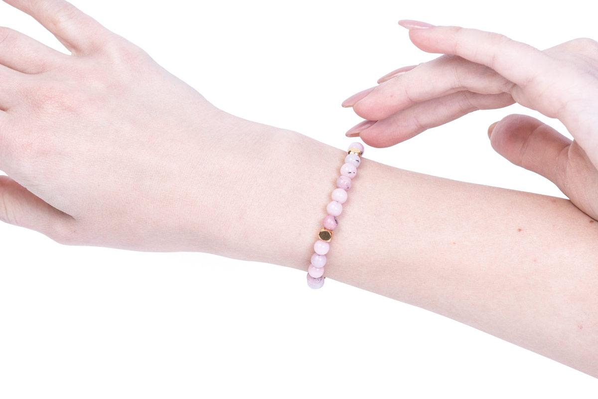 браслет розовый кварц купить